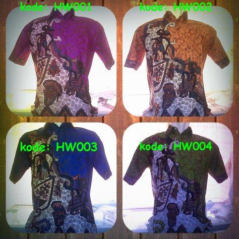 Hem Batik Wayang, kode: HW001 - HW004, tersedia pilihan warna motif (hijau,merah,biru,ungu,coklat). Kain Katun Primisima,halus dan adem dipakai. Harga Special hanya 45.000/ baju, http://batikaqila.com/ #Kampoeng Pusat Produksi Tenun ATBM & Batik Medono Kota Pekalongan.