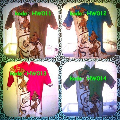 Hem Batik Wayang, kode: HW011 - HW014, tersedia pilihan warna motif (hijau,merah,biru,ungu,coklat). Kain Katun Primisima,halus dan adem dipakai. Harga Special hanya 45.000/ baju, http://batikaqila.com/ #Kampoeng Pusat Produksi Tenun ATBM & Batik Medono Kota Pekalongan.