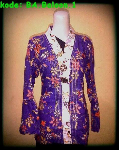 Blouse Batik Atasan,kode: BA.Baloon,bahan katun,lengan panjang,ukuran: Allsize M, Harga Special Rp.40.000,DISKON! Untuk pembelian min.5 pcs. http://batikaqila.com/