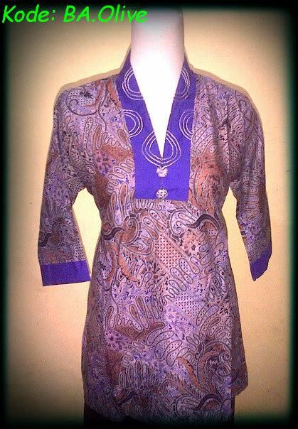 Blouse Batik Atasan Olivia,kode: BA.Olive,bahan katun,ukuran: Allsize M, Harga Special Rp.40.000,DISKON! Untuk pembelian min.5 pcs. http://batikaqila.com/