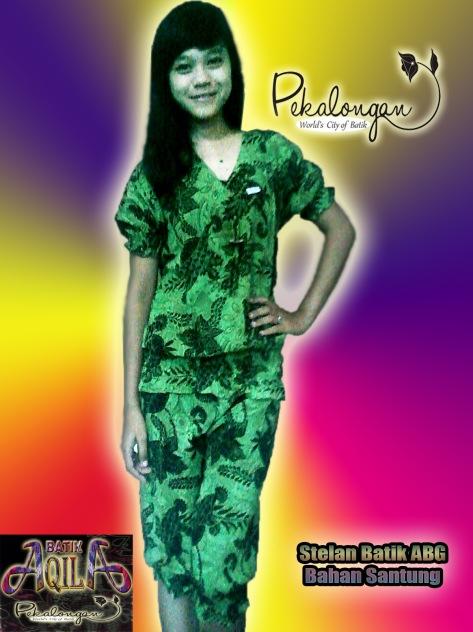 Stelan Batik ABG Santung, Harga Rp. 34.000/ stel motif bunga abstrak, dengan desain yang santai nan lembut, nikmati waktu anda semakin berkesan dengan memakai baju batik ini, Informasi : 085742125550 (Indosat), 082329133113 (AS), http://batikaqila.com