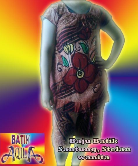 Stelan Batik Wanita Santung, Harga Rp. 34.000/ stel motif bunga abstrak, dengan desain yang santai nan lembut, nikmati waktu anda semakin berkesan dengan memakai baju batik ini, Informasi : 085742125550 (Indosat), 082329133113 (AS), http://batikaqila.com
